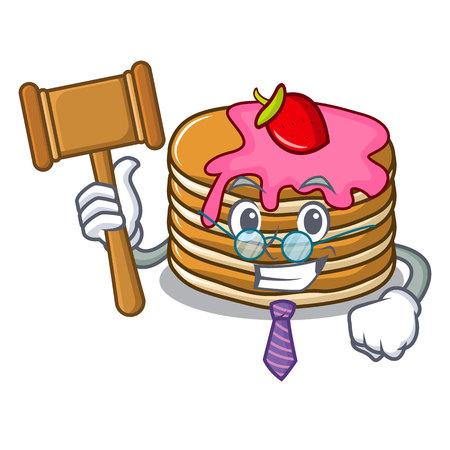 Judge pancake with strawberry mascot cartoon vector illustration