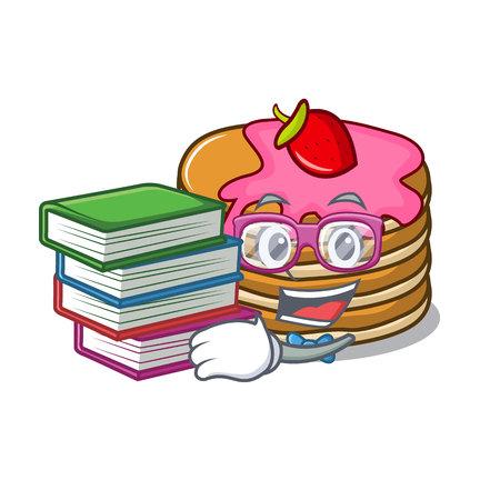 Student with book pancake with strawberry mascot cartoon vector illustration Standard-Bild - 102520765