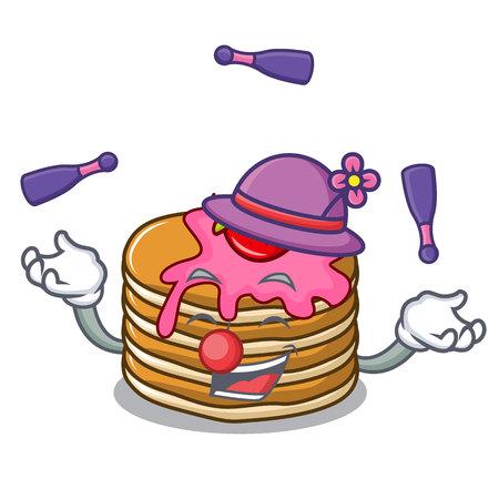 Juggling pancake with strawberry mascot cartoon vector illustration Vector Illustration