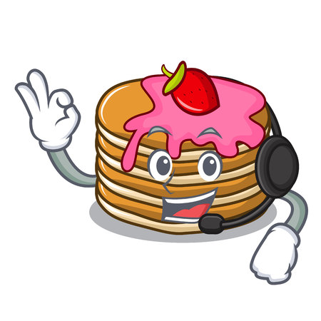 With headphone pancake with strawberry mascot cartoon vector illustration