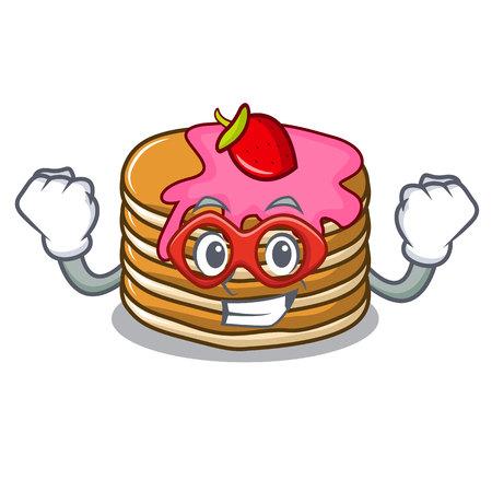 Super hero pancake with strawberry character cartoon vector illustration