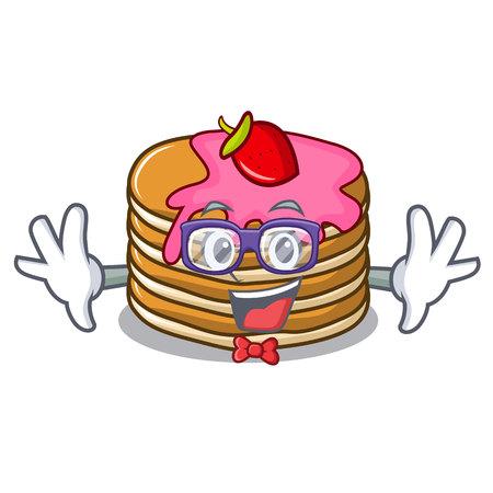 Geek pancake with strawberry character cartoon vector illustration Illustration