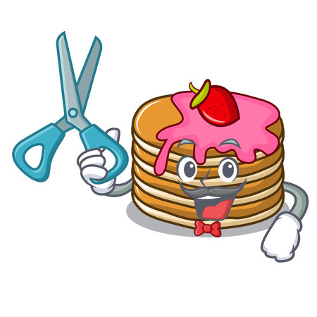 Barber pancake with strawberry character cartoon vector illustration