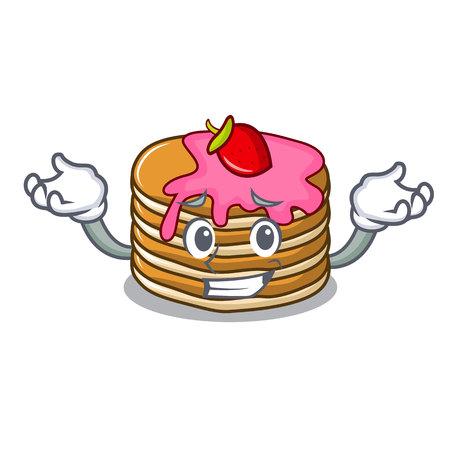 Grinning pancake with strawberry character cartoon vector illustration Standard-Bild - 102520743
