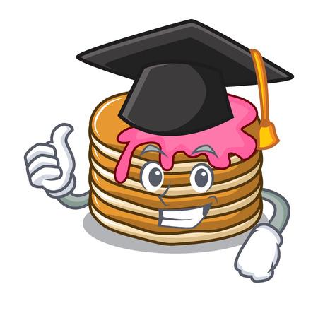 Graduation pancake with strawberry character cartoon vector illustration Standard-Bild - 102520744