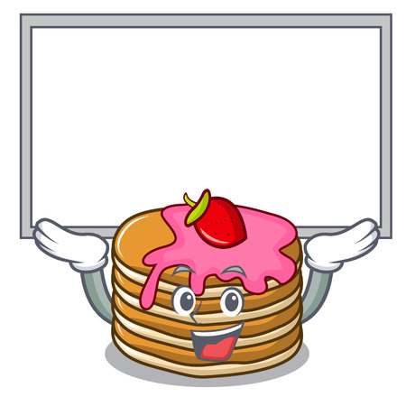 Up board pancake with strawberry character cartoon vector illustration Illustration