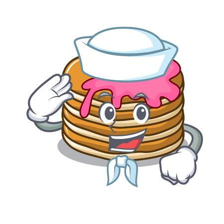 Sailor pancake with strawberry character cartoon vector illustration Illustration