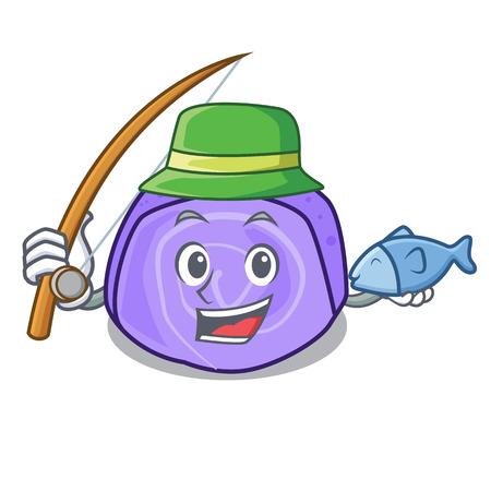 Fishing blueberry roll cake mascot cartoon vector illustration