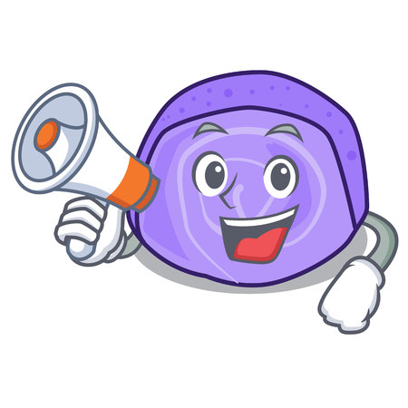 With megaphone blueberry roll cake character cartoon vector illustration