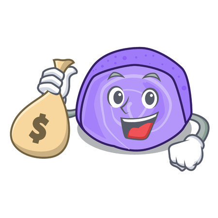 With money bag blueberry roll cake character cartoon vector illustration Ilustração