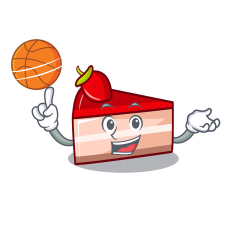 With basketball strawberry cake character cartoon Illustration