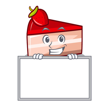 Grinning with board strawberry cake character cartoon Illustration