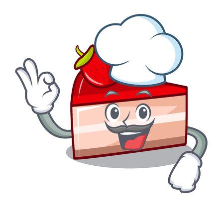 Chef strawberry cake character cartoon Standard-Bild - 102596064