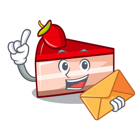 envelope strawberry cake character cartoon Illustration