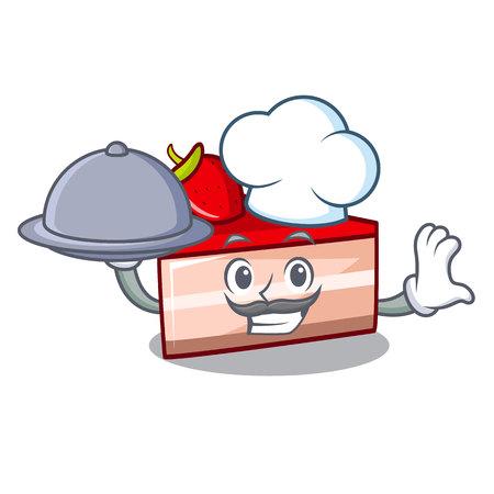 Chef with food strawberry cake mascot cartoon Illustration