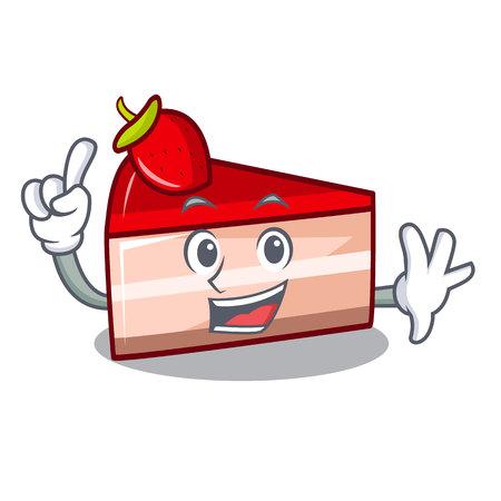 Finger strawberry cake mascot cartoon vector illustration Standard-Bild - 102576401