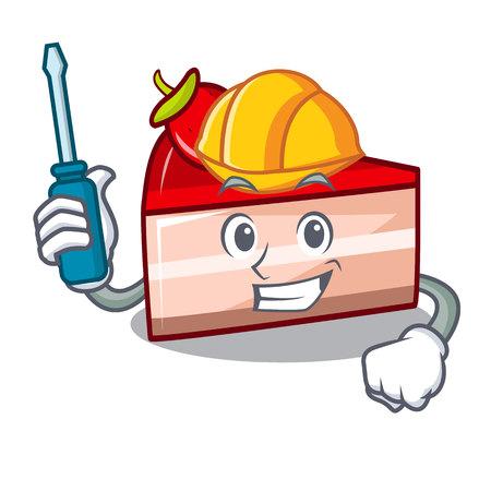 Automotive strawberry cake mascot cartoon vector illustration