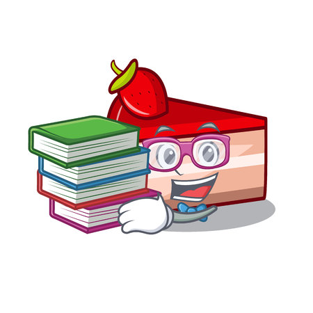 Student with book strawberry cake mascot cartoon vector illustration
