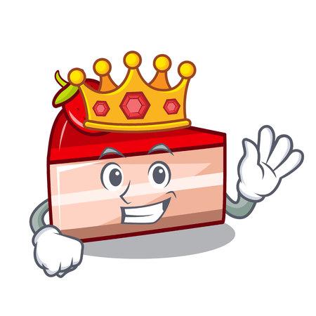 King strawberry cake mascot cartoon vector illustration Illustration