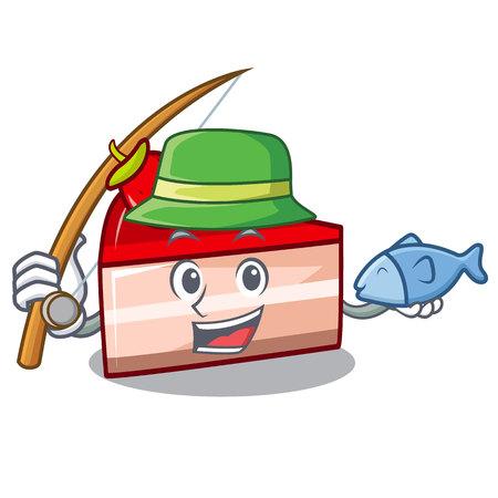 Fishing strawberry cake mascot cartoon vector illustration