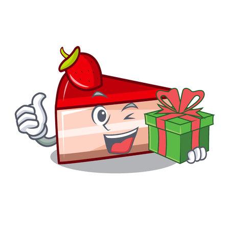 gift strawberry cake mascot cartoon vector illustration
