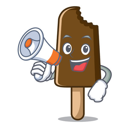 megaphone chocolate ice cream character cartoon