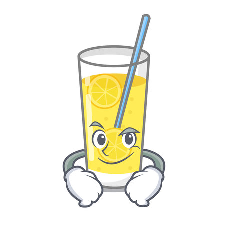 Smirking lemonade character cartoon style vector illustration