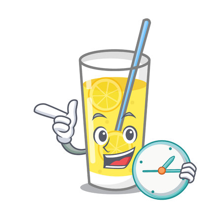 With clock lemonade character cartoon style vector illustration