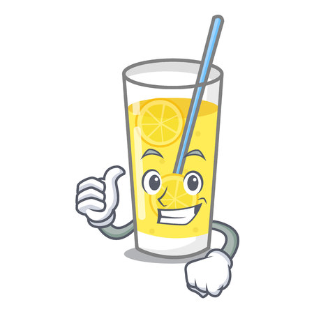 Thumbs up lemonade character cartoon style vector illustration