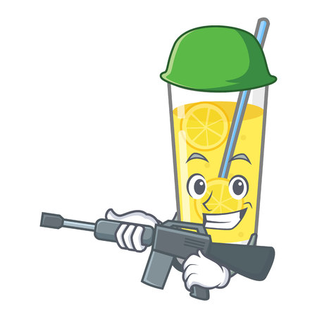 Army lemonade character cartoon style vector illustration Vectores