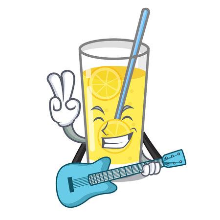 With guitar lemonade mascot cartoon style vector illustration