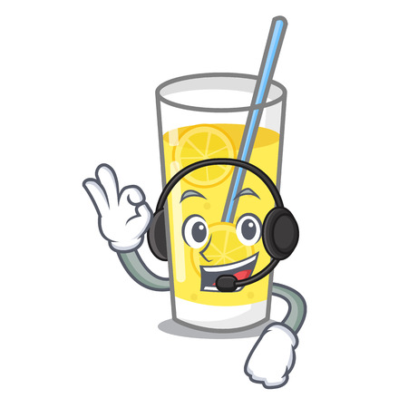 With headphone lemonade mascot cartoon style vector illustration