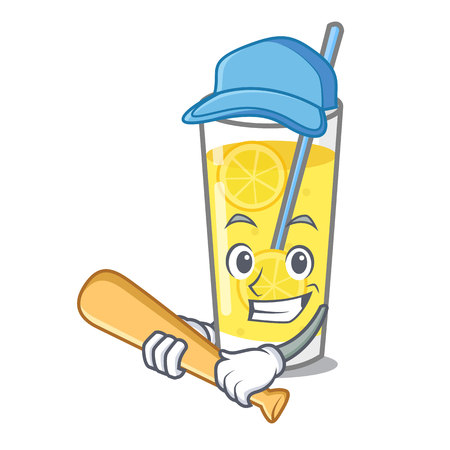 Playing baseball lemonade character cartoon style vector illustration