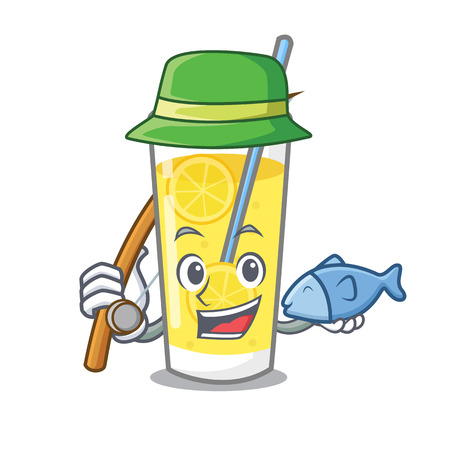 Fishing lemonade mascot cartoon style vector illustration