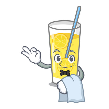 Waiter lemonade mascot cartoon style