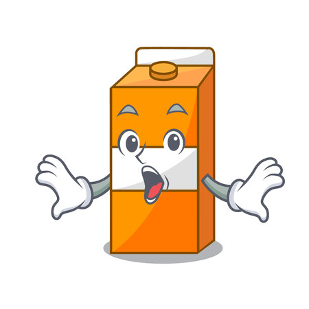 Surprised package juice mascot cartoon vector illustration