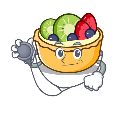 Doctor fruit tart character cartoon vector illustration