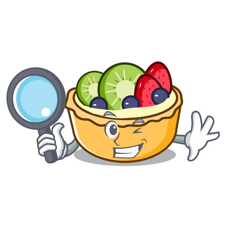 Detective fruit tart character cartoon vector illustration