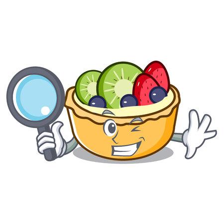 Detective fruit tart character cartoon vector illustration