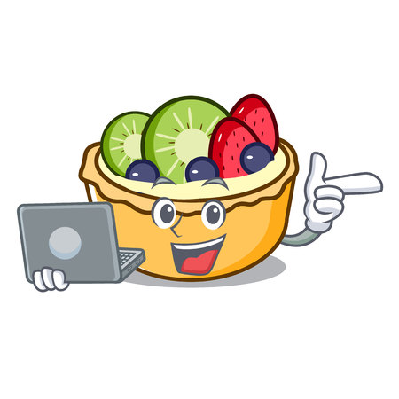 With laptop fruit tart character cartoon vector illustration