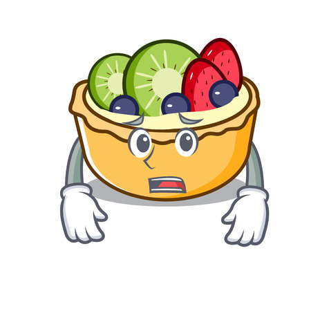 Afraid fruit tart mascot cartoon vector illustration