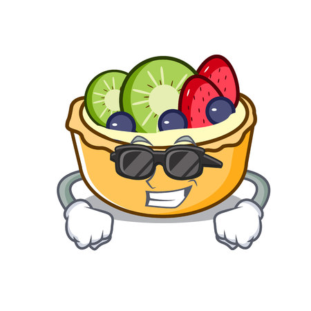 Super cool fruit tart character cartoon vector illustration Illustration