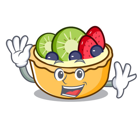 Waving fruit tart character cartoon vector illustration