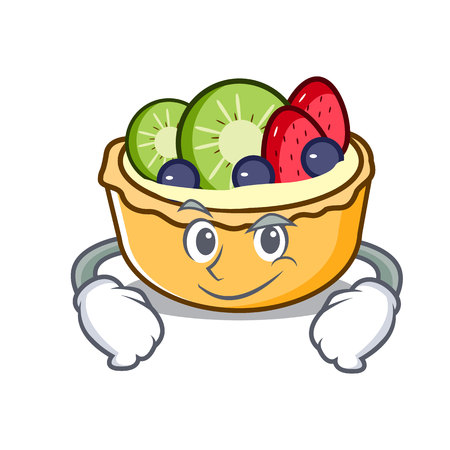 Smirking fruit tart character cartoon vector illustration