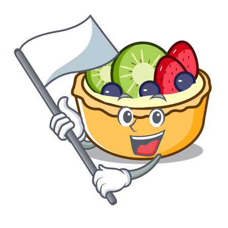 With flag fruit tart mascot cartoon vector illustration 일러스트