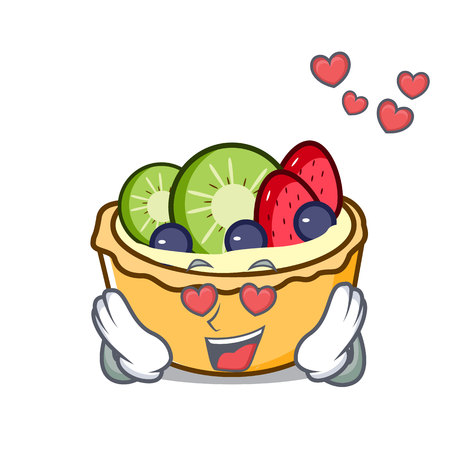 In love fruit tart mascot cartoon vector illustration Illustration