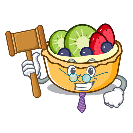 Judge fruit tart mascot cartoon vector illustration