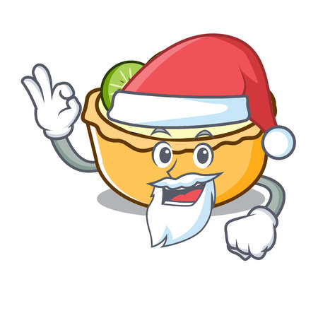 Santa fruit tart mascot cartoon vector illustration