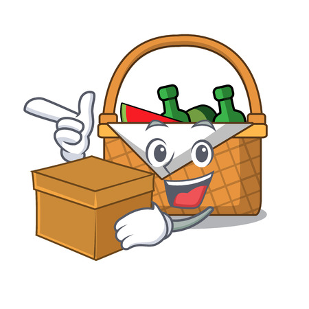 With box picnic basket character cartoon vector illustration