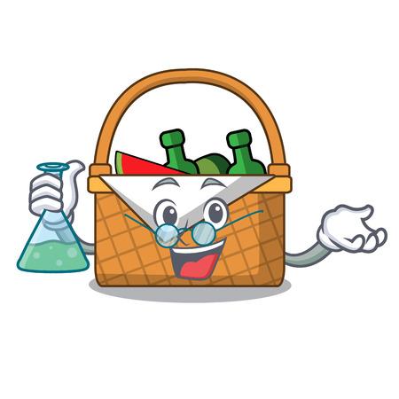 Professor picnic basket character cartoon vector illustration